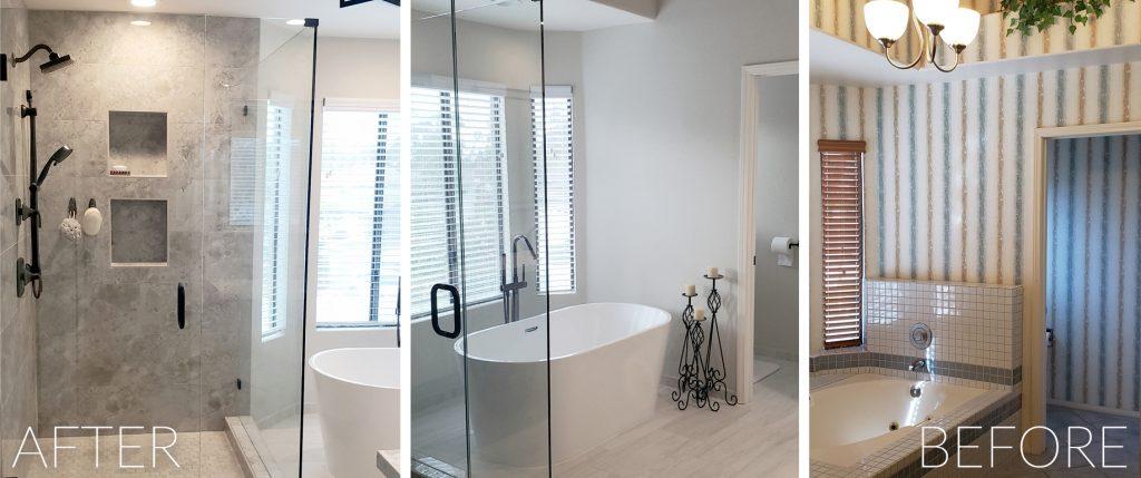 Freestanding bathtub and shower